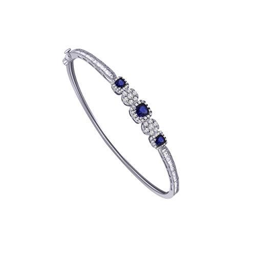 10K White Gold Multi-Shape Sim. Gemstone & 0.79 Ct Diamond Halo Style Bangle Bracelet (blue-sapphire & real diamond)