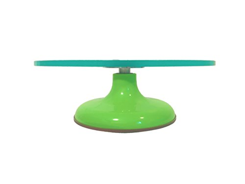 Serving Plate Pedestal (Rotating Glass Cake Decorating Stand - Turntable Plate Pedestal for Serving Cakes, Cupcakes, and Desserts at Parties / Birthdays / Graduations / Weddings / Events / Special Occasions | Coral Kitchen)