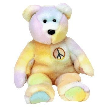 TY Beanie Buddy - PEACE the Ty-Dyed Bear (pastel version)