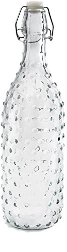 (Circleware Hobnail Glass Beer Milk Water Bottle Carafe with Locking Swing Top Easy Wire Cap Stopper, Kitchen Drink Dispenser Glassware for Oil, Vinegar and Beverage Drinking Gifts, 34 oz,)