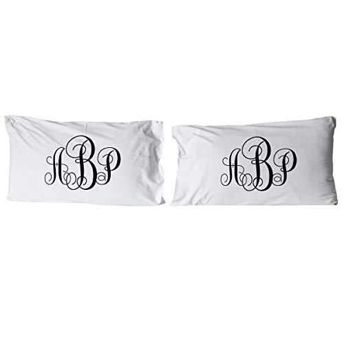 Personalized Interlocking Monogram Pillow Cases for Couples (Personalized Monogrammed Pillowcase)