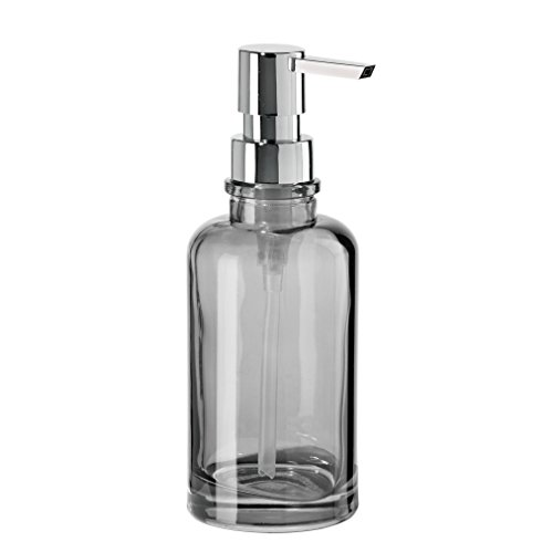 Oggi 12oz Round Glass Lotion and Soap Dispenser for Kitchen or Bath-Smoke