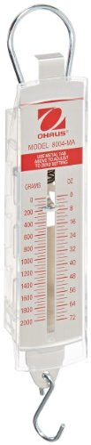 - Ohaus 8004-MA Pull-Type Hanging Spring Scales, 2000g x 50g, 72 oz x 2 oz