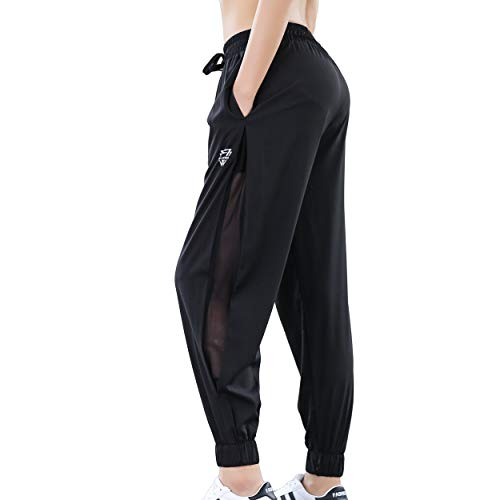 (KaiDi Women Pants Casual Tie Waist Yoga Jogger Pants Running Pants with Pockets (L, Black))