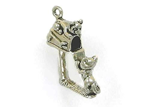 Sterling Silver 3-D Cats Playing in Mailbox Charm for Jewelry Making Bracelet Necklace DIY Crafts