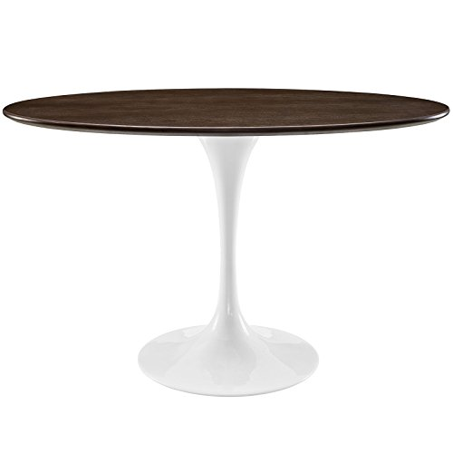 48 Inch Square Dining Table - Modway EEI-2022-WHI-Parent Lippa Mid-Century Modern Walnut 48