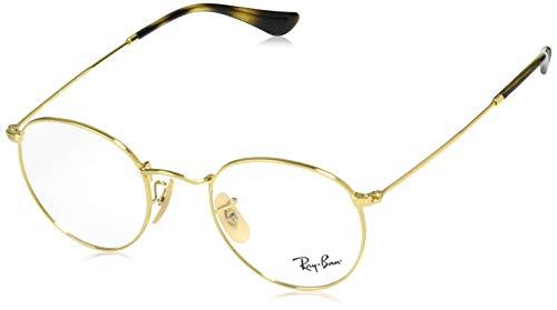 Ray-Ban RX3447V Round Metal Eyeglass Frames, Gold/Demo Lens, 47 ()