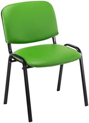 CLP Set De 4 Sillas De Reuniones Ken En Piel Sintética I 4 Sillas De Conferencia con Base De Metal I 4 Sillas Confidentes Apilables I Color: Verde