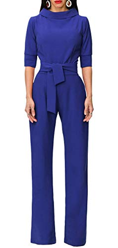 Chicmay Womens Elegant Solid 1/2 Sleeve Jumpsuits Wide Leg High Waisted Belted Flare Romper Pants,Blue,X-Large