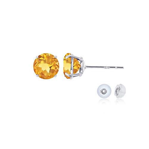 (14K White Gold 4mm Round Citrine Stud Earring)