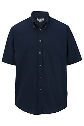 Edwards Men's Easy Care Short Sleeve POPLIN Shirt Large Navy