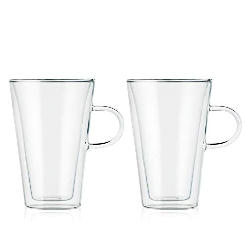 - Bodum Canteen Glass Mug, Double-Wall Insulated Glass, Clear, 13.5 Ounce, (2 Glasses)