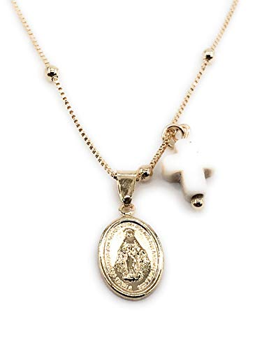 Cross Necklace 18k Gold Plated Miraculous Medal 18 Inches Chain Medalla Virgen de la - Miraculous Medal 18k