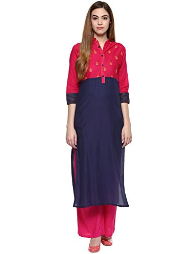 Jaipur Kurti Women's Straight Salwar Suit XX-Large Navy Blue & Pink (Blue Salwar Suit)