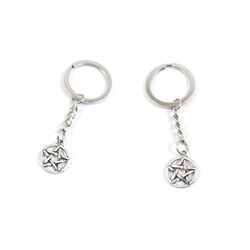 (20 PCS Antique Silver Keyrings Keychains Key Ring Chains Tags Clasps V9GG3 Star of David)