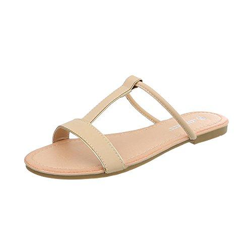 Ital-Design Pantoletten Damenschuhe Blockabsatz Sandalen Sandaletten Beige PM203