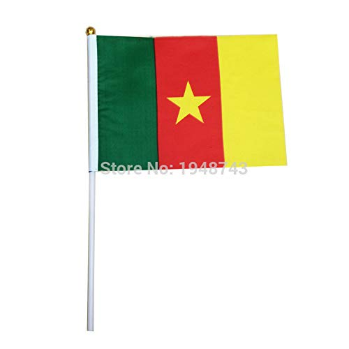 (Value-Smart-Toys - 10pcs the Small Cameroon flag 14x21CM Cameroon Flag the hand national flag with Pole Handing flag)