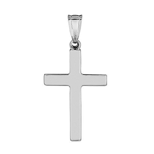 (14k White Gold Shiny Square Cross)