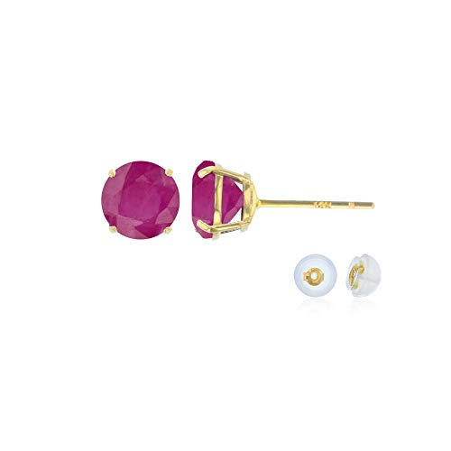 Genuine 14K Solid Yellow Gold 4mm Round Natural Ruby July Birthstone Stud Earrings ()