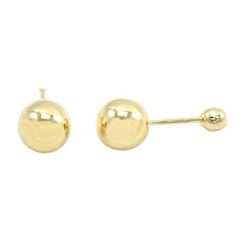 Hollow Ball Earrings - Baby Girls Childrens Womens Screw Back Earrings 14k Gold Hollow Ball Studs Pair Size 5mm