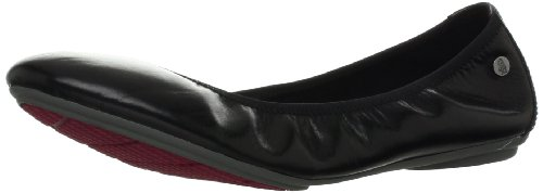 Hush Puppies Women's Chaste Ballet Flat, Black Leather, 7.5 M US