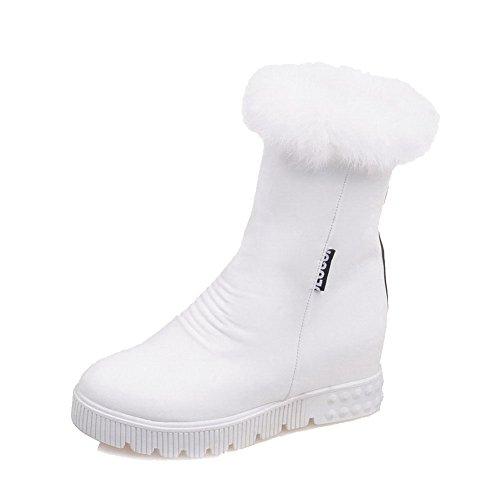 AgooLar Damen Reißverschluss PU Mittler Absatz Rund Zehe Stiefel Weiß