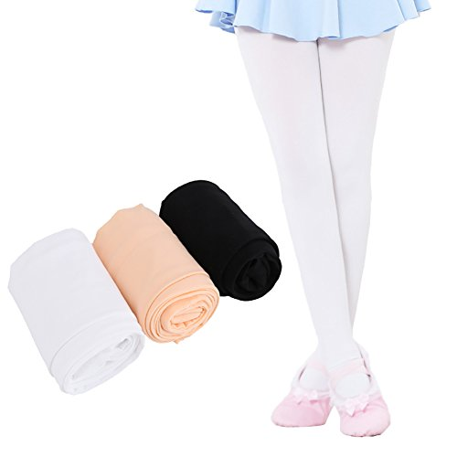 Ehdching Pack of 3 Kids Girls Baby Soft Microfiber TightsBallet Dance Velvet Stockings Pantyhose Tights (M(4-6y), light pink,white,black)