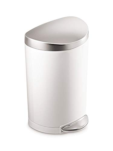 simplehuman 10 Liter / 2.3 Gallon Stainless Steel Small Semi-Round Bathroom Step Trash Can, White Steel With Stainless Steel Lid (White Pedal Bin)