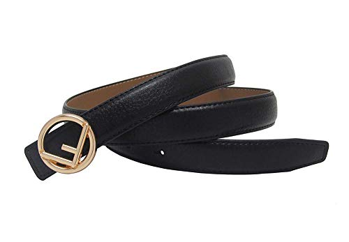 Western Gold Sliver Plated F Buckle Thin Women Jeans Dress Sweater Belt