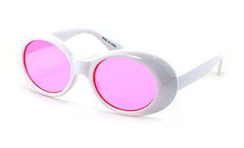 V.W.E. White Vintage Sunglasses UV400 Bold Retro Oval Mod Thick Frame Sunglasses Clout Goggles Pink Blue Yellow Lens (Pink Lens)