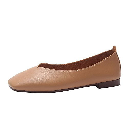 QBQCBB Fashion Women Summer Autumn Skid-Proof Square Toe Flat Casual Sandals Shoes(Brown,39) ()