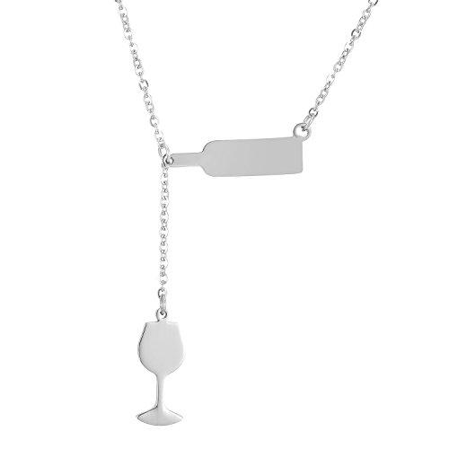 SKQIR Stainless Steel Love Wine Cheers Red Enamel Heart Pendant Necklace Women's Girl's Gold/Silver 18'' Jewelry-SilverSolid (Heart Enamel Gold)