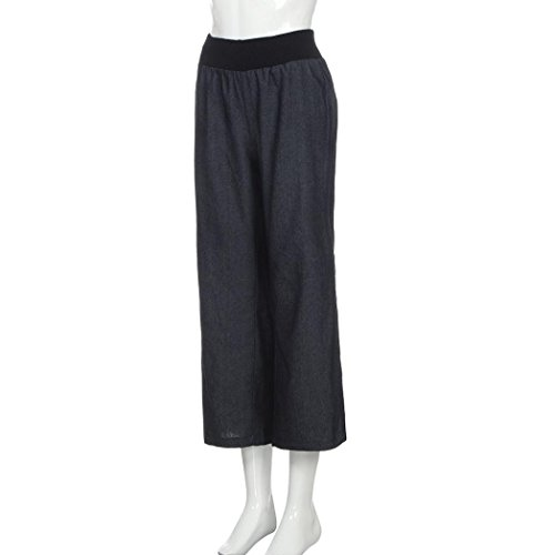 Mesdames Taille Pantalon Lasticit Britches Haute Jeans Pantalon LGantes pour Noir Denim Large Femmes Les Jambe Lady Femmes pour DContract Pantalon Palazzo fY5n4q1f