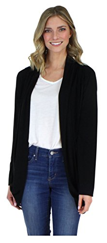 PajamaMania Women's Sleepwear Lightweight Knit Long Sleeve Open Front Slouch Cardigan Wrap, Solid Black (PMR1821-1011-L/XL)