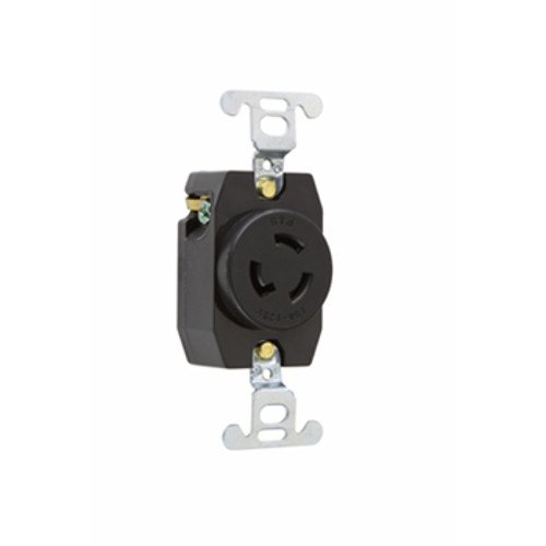 Legrand-Pass & Seymour 4710 Pass and Seymour 15A, 125V, Black, 2 Pole, 3 Wire Grounding, Locking Outlet, Nema L5-15