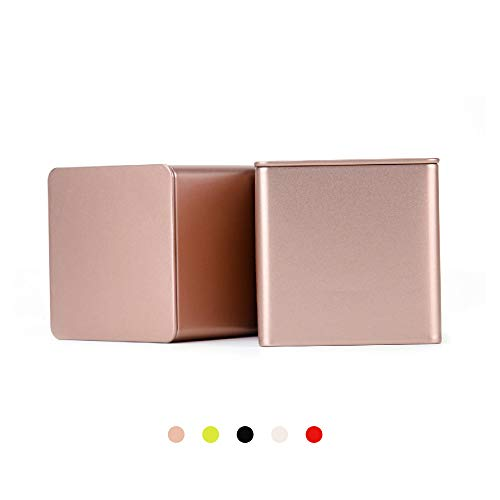 Tianhui Colorful Square Tin Can Empty Cube Steel Box Storage Container for Treats, Gifts, Favors, Loose Tea, Coffee and Crafts,Mini Portable small storage Kit,Home Storage. (Gold, 2-Small) ()