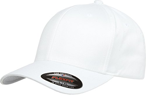 6277 Flexfit Wooly Combed Twill Cap,White,Adult XXL (7 3/8
