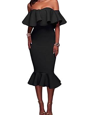 Voguegirl Women's Off Shoulder Ruffle Evening Party Bodycon Mermaid Midi Dress