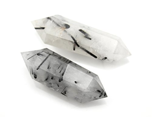 Deyue Natural Tourmilated Quartz Double Terminated Healing Crystal Point Vogel 6 Facet Wand Carved Reiki Stone For Wire Wrapping, Grids, Crafts, Reiki, Wicca and Energy-Approx 2-2.4