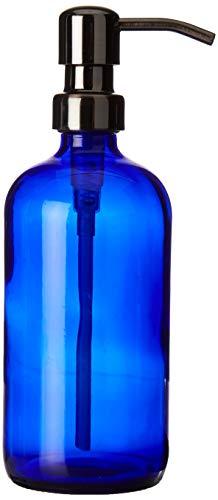Industrial Rewind 16oz Cobalt Blue Glass Refillable Body Lotion Dispenser with Gun Metal Bronze Pump Dispenser/Liquid Hand Soap Dispenser ()