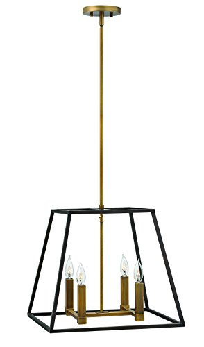 Hinkley 3334BZ Restoration Four Light Stem Hung Pendant from Fulton collection in Bronze/Darkfinish,