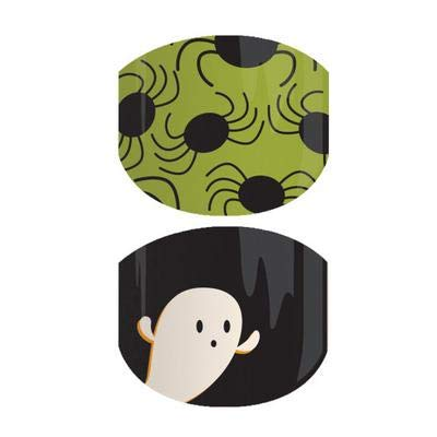Jamberry Nail Wraps - Boo-tiful JR - Full Sheet - Juniors Kids Size Glow In The Dark Halloween - Ghosts and Spiders - 2018 Autumn -