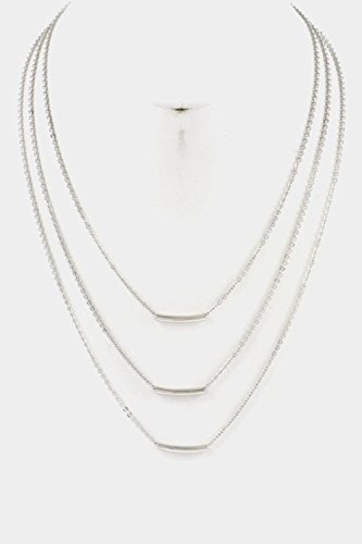 Trendy Fashion Jewelry Triple Layered with Bar Necklace By Fashion Destination | (Rhodium) (Triple Layered Necklace)