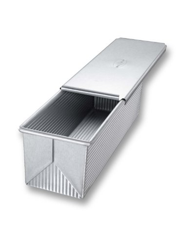 USA Pan Bakeware Pullman Loaf Pan with Cover, 13 x 4 inch, Nonstick & Quick Release Coating, Made in the USA from Aluminized Steel (Small Dish Loaf)