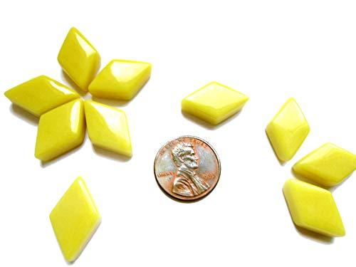 55 Bright Yellow Mosaic Tiles, Diamond Shape Tiles, Black Geometric Glass Tiles from Shining Eye Arts