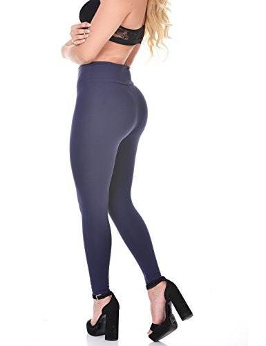 Curvify Elegant High Waisted Womens Blue Leggings / Butt Shaping and Slimming Thick Navy Blue Leggings (L, Blue, L111)