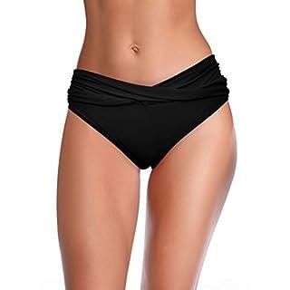 SHEKINI Women's Cheeky Swimsuit Twist Front Bikini Bottoms Ruched Swim Bottoms (Black, Large)