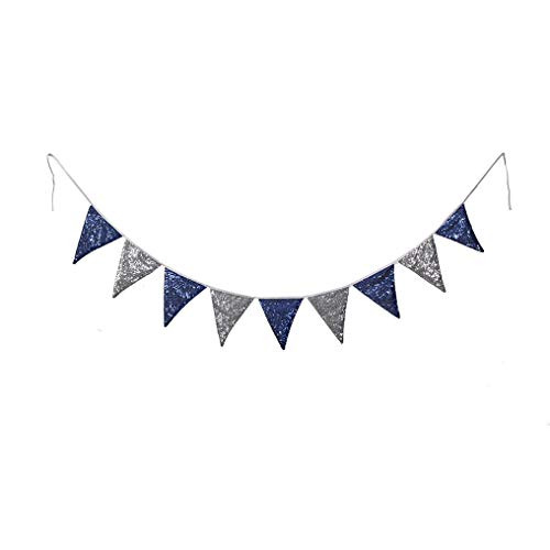 PartyDelight Nave Blue and Metallic Gray Sequin Bunting, Multicolor Fabric Triangle Flag Bunting for Party,Wedding Sequin Bunting/Garland, Outdoor Bunting Flag(9 Flags in one Bunting, 2 Packs)