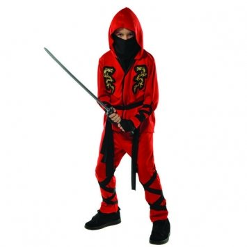 Children's Fire Dragon Ninja Costume Size Medium (8-10)