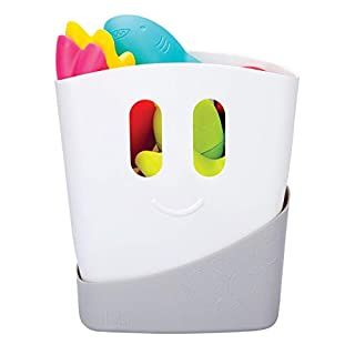 Ubbi Freestanding Bath Toy Organizer Bath Caddy with Removable Drying Rack Bin and Scoop for Bath Toys for Toddlers + Baby, Gray